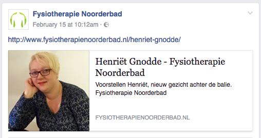 Voorbeeld blog content tips even voorstellen Fysiotherapie Noorderbad in Groningen