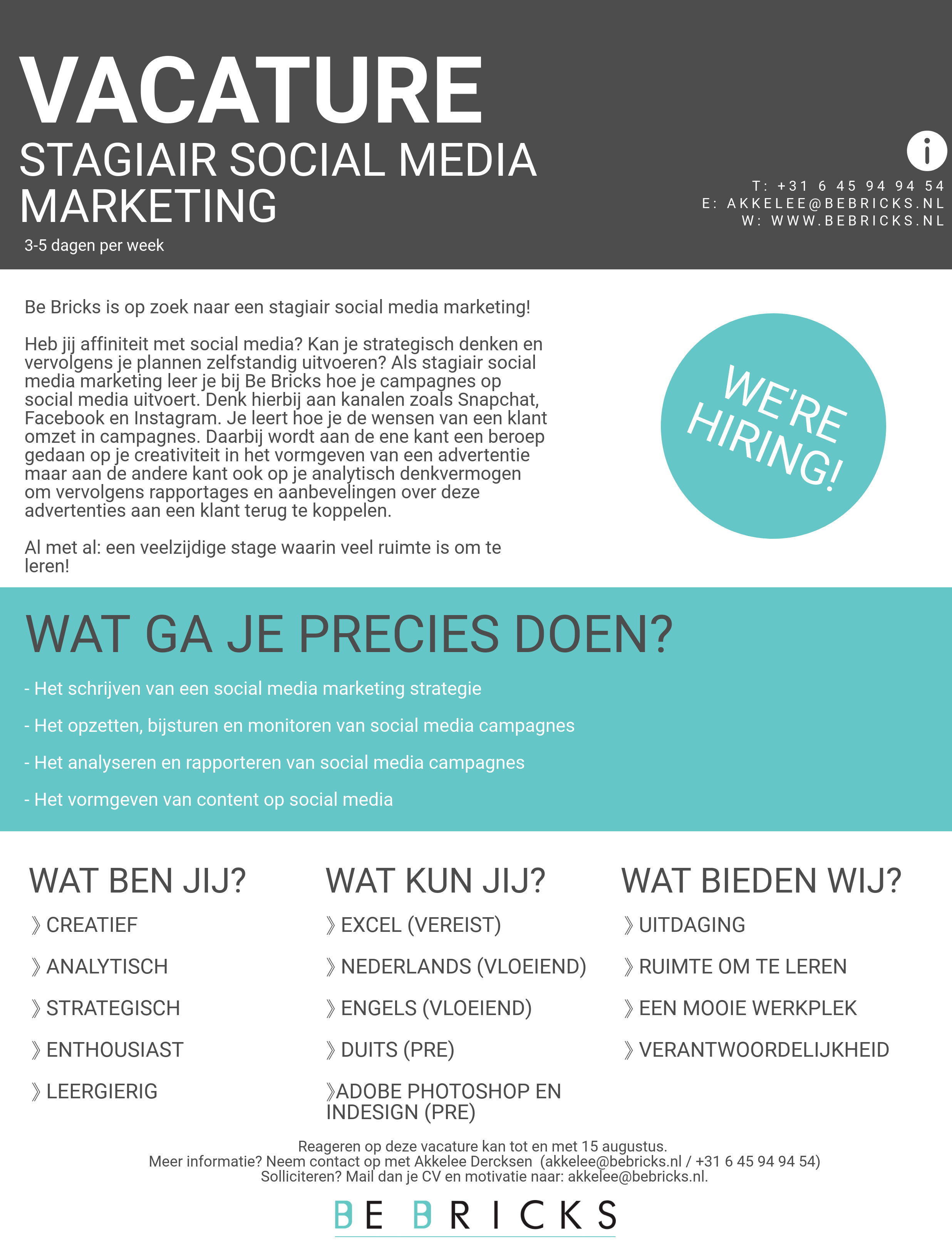 Vacature stagiair Be Bricks social media marketing