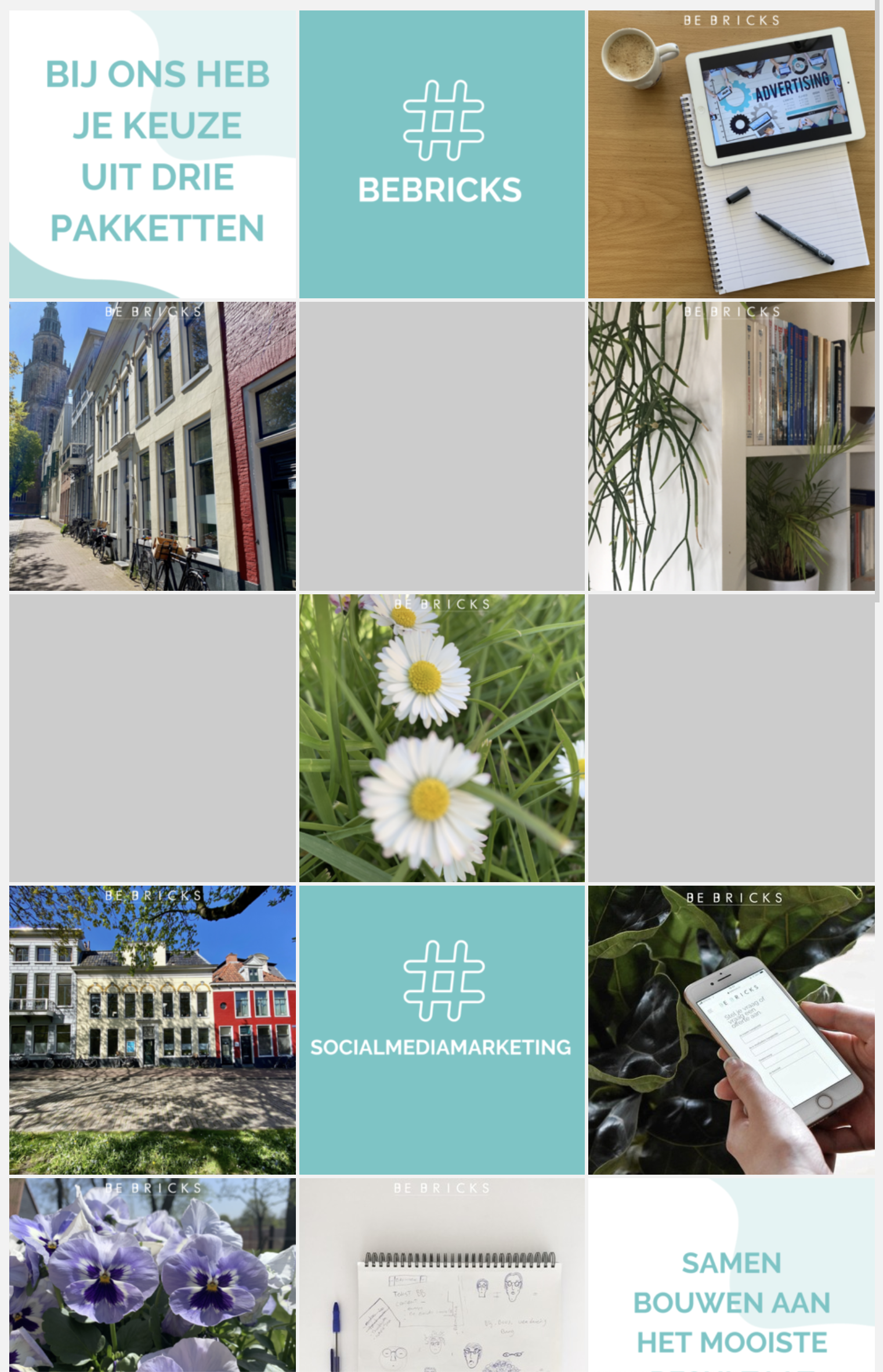 Instagramfeed Be Bricks social media marketing Groningen
